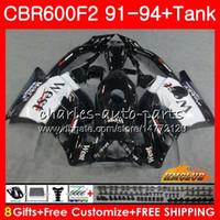Kropp + Tank för Honda CBR 600F2 CBR600FS CBR 600 FS F2 91 92 93 94 40HC.36 600cc CBR600 F2 CBR600F2 1991 1992 1993 1994 Fairing Black West