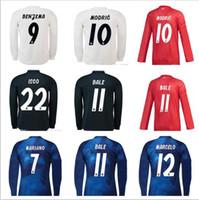 Custom 18 19 Real Madrid Camisetas de fútbol de manga larga Sergio Ramos  Ronaldo Kroos Bale aa577979d9c