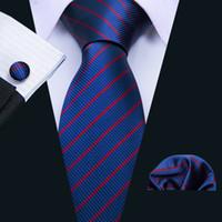 Быстрая доставка Мужские галстуки Классический Real Шелковый Синий нашивки галстука Для свадьбы Бизнес формальные связи N-5061
