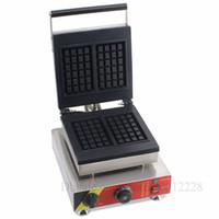 Ticari Dikdörtgen Waffle Makinesi 2 Kalıpları Paslanmaz Çelik Klasik Waffle makinesi 1500 W 110 V 220 V CE Onay Yepyeni