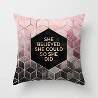 Federa marmorizzazione geometrica poliestere glitter sofà decorativo Cuscino per la decorazione domestica 45x45cm Peach Velvet Pillow 33styles RRA2906