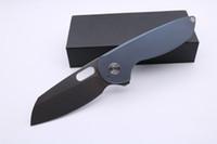 Qualitäts-Shepherd-Taschen-faltendes Messer Stonewash Blatt Blau Titanium Griff taktisches Überlebens-Messer im Freienjagdmesser