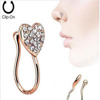 Piercing süs kalp burun tırnak burun halkası ile set elmas kalp yeni stil burun süsleme hiçbir delik piercing halka üç paketleri