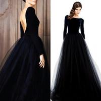 2020 جديد طويل الأكمام فساتين الزفاف الأسود مثير منخفض الظهر تمتد أعلى تول تنورة بسيطة أثواب الزفاف غير أبيض مع اللون