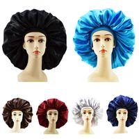 النساء النوم قبعة nightcap بلون جديد لينة الحرير عريض حافة مرونة عقال دش كاب الساتان طويل العناية بالشعر