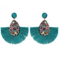 Joyas étnicas gota cuelgan de la franja de 14 colores de moda Declaración de Nueva Bohemia borla pendientes de la vendimia regalos de la joyería Druzy Pendientes para mujer