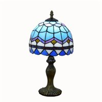 مصابيح الطاولة الأوروبية الفاخرة تيفاني زجاج ملون بسيط ضوء غرفة المعيشة غرفة نوم زرقاء السرير مصباح طاولة TF002