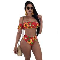 Sommer-Damen Blumen gestreifter Bikini Red-Boot-Ausschnitt gedruckt Frauen Swimwears Panelled Sexy High Taille Weiblich Beachwears