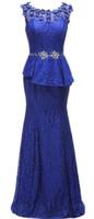 Meerjungfrau strass real bild handgefertigte blumen spitze mutter der braut kleider königliche blau boden länge frauen formale party abendkleider