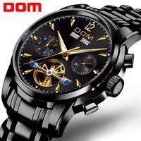 DOM Fashion Design Esqueleto homens mecânicos Assista ponteiros luminosos pulseira de aço transparente para homens Top Marca de luxo M-75BK-1MW