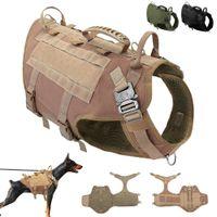 Chien Chien durable Harnais en nylon tactique militaire K9 travail Gilet Pull Non Dressage d'animaux Gilet pour Faisceaux Medium Large Dogs M L