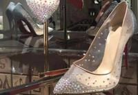 حار بيع الأزياء مثير النساء مضخات تو اللمحة كريستال الإبزيم الشريط حزب / حذاء الزفاف الذهبي شبكة الهواء انظر من خلال الشريط الكاحل # 9022