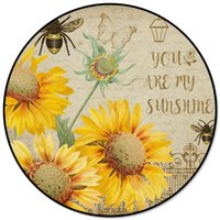 Sunflowers Bees Retro Round Carpets For Living Room Bedroom ...