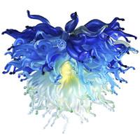 """alta qualidade de cristal G9 pingente de luz Villa suspensão do teto luzes LED 32"""" azul e verde moderno lustre mão vidro soprado iluminação-L"""