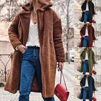 La nueva manera de gran tamaño Mujeres gruesa lana abrigos Winetr caliente del oso de peluche de punto de manga larga Cardigan Outwear las capas