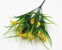 pianta in vaso con i falsi fiori e piante verdi per tagliare recinzione pianta decorativa 7-biforcuta plastica giglio sacco WL87 / 20pcs acqua
