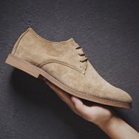 Venda Quente-2019 Sapatos de Homens Inglaterra Tendência Sapatos Casuais Masculino Camurça Oxford Vestido de Couro de Casamento Homens Flats Zapatillas Hombre Plus Size 46