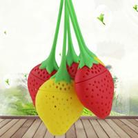 Erdbeere Silikon-Tee-Sieb, Rot, Gelb Teebeutel Kessel lose Teeblatt-Sieb-Kugel Herbal Spice Tee-Filter VT0327
