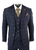 Mens Navy Blue Mens Suits 3 Piece Herringbone Check Suit Vin...