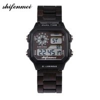 Shifenmei S5552 square retro men' s wooden watch Watch M...