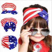 بنات العصابة الأمريكي العلم أرنب الأذن الشعر الفرقة الوطنية عيد الاستقلال يوم مخطط ستار الطفل القوس حك اكسسوارات الشعر D52704