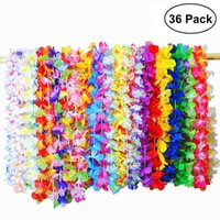 36 UNIDS Hawaiian Artificial Flowers Leis Garland Necklace Vestido de lujo Hawaii Beach Flowers DIY Party Decor (Color al azar)