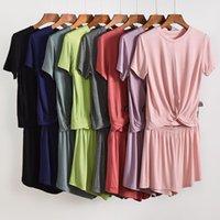 2 종 세트 여성 잠옷 모달 단색 외부 착용 잠옷 짧은 소매 반바지 느슨한 편안한 얇은 홈 의류