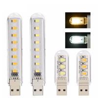 Luz de la noche del LED Mini lámpara de lectura portátil del USB 3leds 8leds Lámpara del libro para la lectura del ordenador portátil del banco de potencia Ordenador portátil