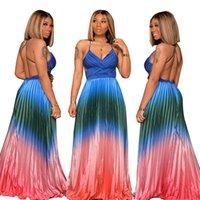 Mulheres do partido incrível vestido Gradiente Printing plissados A Linha de vestidos de noite 2020 Últimas V Neck mangas até o chão Sexy Dreses Backless