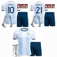 2019 2020 Argentinien Kinder Fußball Trikots Sets Trainingsanzüge MESSI home 19 20 Fußball Jungen Trikot mit Shorts