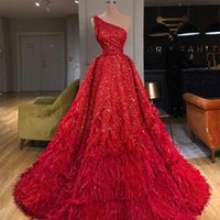 Luxurious Red Feather Evening Dresses 2020 Sequins One Shoul...