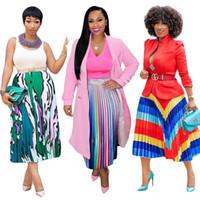 Falda plisada de rayas de impresión de rayas de arco iris para las mujeres de moda de cintura alta falda hasta la mitad de la pantorrilla del verano de la cintura elástica falda del partido suelto
