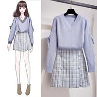 ICHOIX manta mini-saia definir coreano estilo mulheres estudante set menina de 2 pedaço ocasional doce 2 pedaço roupas de inverno femme conjunto camisola Y200110