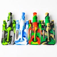 Venta caliente de silicona néctar Collector kits con aceite de 14mm conjunta Ti colector de uñas néctar de las plataformas de bongs de vidrio envío libre de DHL