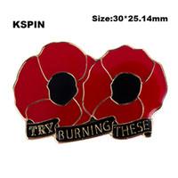 Prueba a quemar estos botones de solapa de flor de amapola bandera insignia Pasadores de solapa insignias broche XY0126
