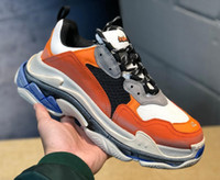 Orange Luxury Triple S Designer Low- top Make Old Sneaker Ath...