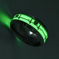Coração anéis luminosos para as Mulheres Homens Stainless Steel Fluorescente Incandescente Em dedo escuro maçom pulsação anel casal jóias