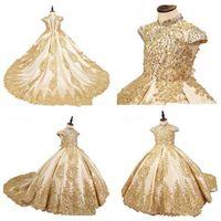 2020 골드 레이스 Applique 공 가운 꽃 여자 드레스 스윕 트레인 하이 넥 키즈 communion 가운 아름다움 아이 여자 미인트 드레스