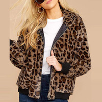 Frauen Art und Weise Leopard-Pelz-Mantel Fuzzy Zipper warmer Winter in über Outwear Jacken Umlegekragen Taschen Mantel womenF918