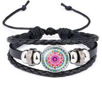 2019 indien Mandala Fleur De Vie bracelets Pour les femmes Bouddhisme Méditation En Verre Cabochon Charme en cuir corde bracelets bracelet Hommes Bijoux