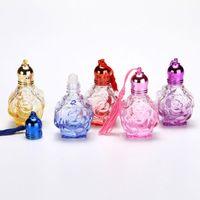 10 ml botella de perfume de rosa con vidrio Roller Ball Rodillo de viaje Botella recargable Aceite esencial Roll-on Glass F2042
