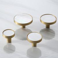 Nordic Brass cocina del gabinete del cajón de puerta Tiradores Tiradores Hardware Blanco de la naturaleza Shell muebles manijas Armario Armario manijas de las puertas