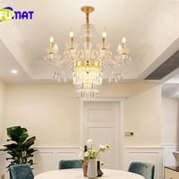 FUMAT Altın Kristal Avize Yaratıcı Mum Kristal Aydınlatma Oturma Odası Restoran Bar E14 Mum Lampe Parlaklık Işık Fikstür