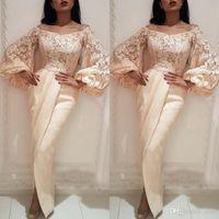 Exclusivo Bateau Sleeves Longa Lace Appliques Vestido de Noite Sexy Árabe Frente Divisão Dividir Comprimento de Piso Sereia Vestido de Festa de Prom