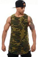 Mens Camouflage Stampato maniche della maglia girocollo Sport Mens canotte bordo irregolare colorato Abbigliamento maschile
