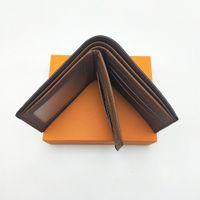 Moda Uomo Portafogli classiche da uomo Portafoglio Con Extra Medio foto e una carta Slot Bifold Breve portafoglio piccole Portafogli con la scatola