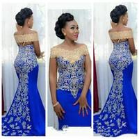 New Royal Blue Plus Size Sirena Africana Prom Dresses Lungo 2019 abiti da festa Black Girls Abiti Da Sera Formale P001