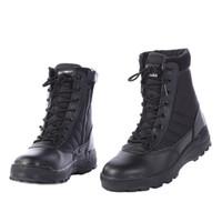 Kış Ayakkabı Erkekler Çöl Botları Askeri Bot Erkek Emniyet Ayakkabı Çalışmak SWAT Ordu Boot Zapatos Ayak Bileği Dantel-up Yan Fermuar Savaş Botları