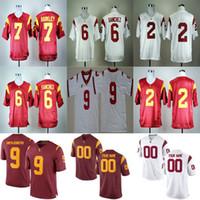 사용자 지정 USC 트로이 목 한정판 흰색 빨간색 개인 맞춤형 이름 번호 14 Sam Darnold 32 Marcus Allen College 축구 유니폼 S-6XL