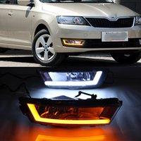2013 2014 2015 2016 2017 Işık Sis Işık İçin Skoda Rapid Running Sinyal Röle 12V Araba DRL LED Gündüz Torna 1 Set ile Sarı